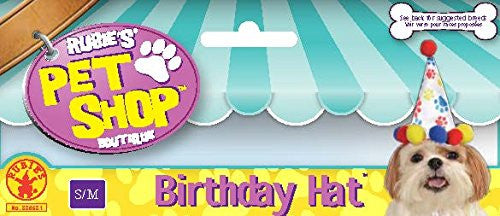 Rubie's Pet Birthday Hat, Small to Medium, Boy Paw Print