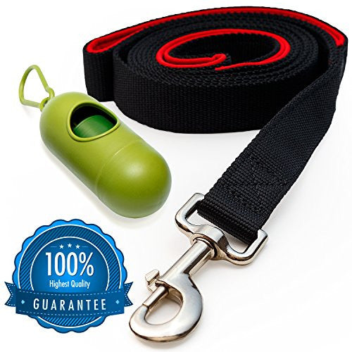 [Strong] Dog Leash with Bonus FREE Waste Bag Dispenser – Thick Padded Dual Handles & 100% Nylon (6ft. Long) – Comfortable Grip – Ideal for Large, Medium and Small Dogs