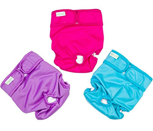 Wegreeco Washable Reusable Premium Dog Diapers, Extra Large, Bright Color, for Female Dog, Pack of 3