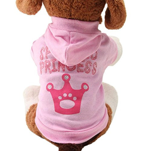 LOVELYIVA New Pink Pet Dog Clothes Crown Pattern Puppy Clothing Coat Hooded Cotton T Shirt (medium)