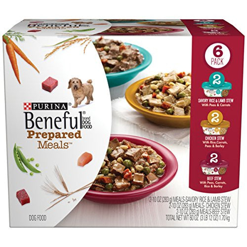 Purina Beneful Prepared Meals Stew Variety Pack Wet Dog Food, (6) 10 oz. Tubs