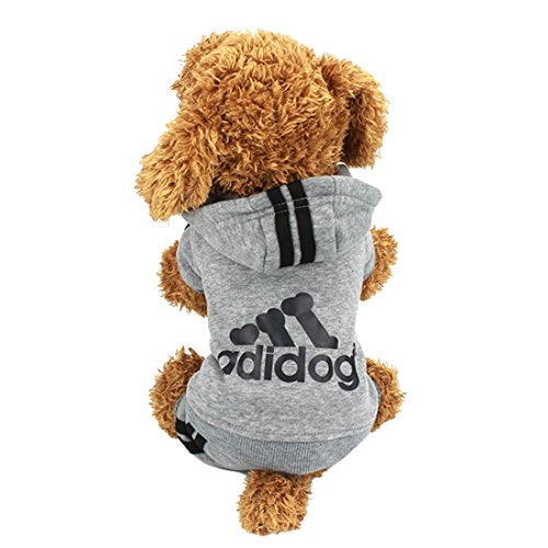 Idepet(TM) Adidog Pet Dog Cat Clothes 4 Legs Cotton Puppy Hoodies Coat Sweater Costumes Dog Jacket (M, Gray)