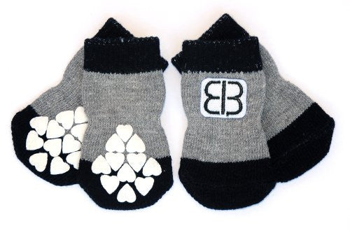Petego Traction Control Indoor Socks for Dogs, Black/Gray, Medium, Set of 4