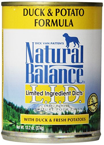 Natural Balance L.I.D. Limited Ingredient Diets Canned Wet Dog Food, Grain Free, Duck and Potato Formula, 13.2-Ounce (Pack of 12)
