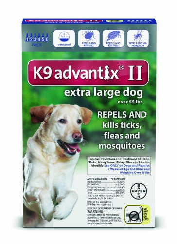 Bayer K9 Advantix II Flea, Tick and Mosquito Prevention for X-Large Dogs, Over 55 lb, 6 doses
