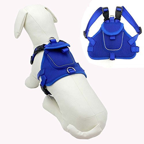 Wellbro Fashional Durable Dog Backpack Harness, Soft Breathable and Adjustable, Fits to Small Medium Dogs (M, Blue)
