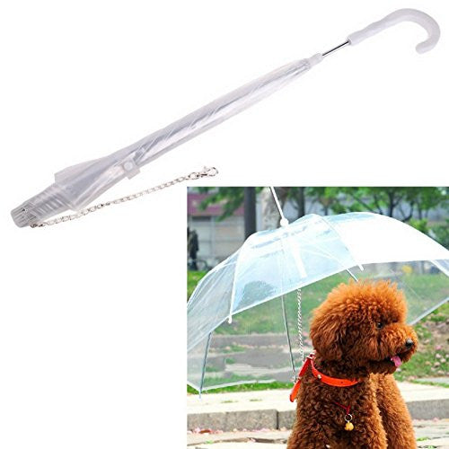 Patgoal Waterproof Pet Umbrella Dog Transparent Umbrella Raincoat With Leash