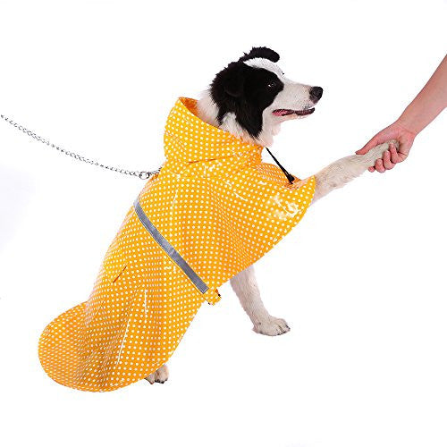 Dot Dog Raincoat Breathable Pet Rain Jacket Poncho Cloak Style Waterproof Dog Hoodies with Safe Reflective Strips(Yellow,M)