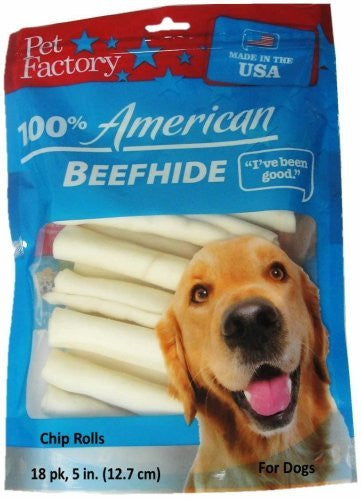 Pet Factory U.S.A. Beef Hide Chip Rolls Chews for Dogs (18 Pack), Small/5""
