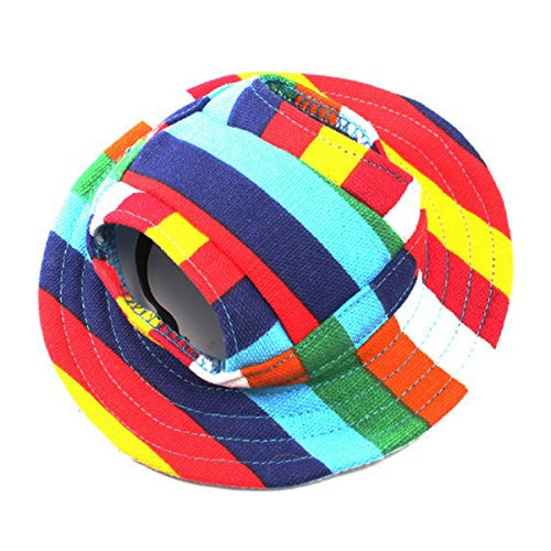 WINOMO Round Brim Pet Cap Visor Hat Pet Dog Mesh Porous Sun Cap with Ear Holes for Small Dogs - Size M (Colorful Stripe)