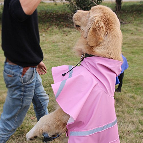 Genenic Large Dog Raincoat Leisure Pet Waterproof Clothes Lightweight Rain Jacket Poncho with Strip Reflective Pink (L)