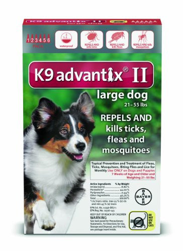 Bayer K9 Advantix II Flea, Tick and Mosquito Prevention for Large Dogs, 21 - 55 lb, 6 doses