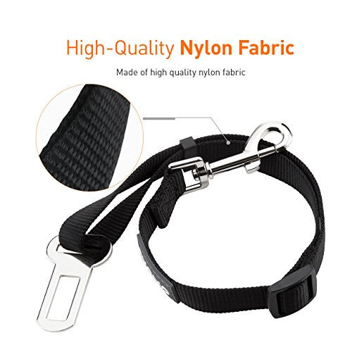 OMorc 2 Piece Dog Seat Belt, Dog Harness Pet Car Vehicle Seatbelt, Pet Safety Leash Leads for Dogs/Cats, Nylon Fabric Material, Black