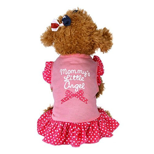 "Kwok Summer Apparel Puppy Dog 2017 New Pet Puppy Small Dog Apparel Clothes ""mom my's little angel / L❤ve"" Lady Casual Dress (M, Pink)"