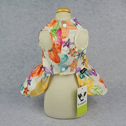 Fitwarm Floral Dog Harness Dress Pet Clothes D-ring Vest Shirts Sundress Yellow Small