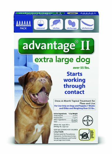 Bayer Advantage II Flea and Lice Treatment for X-Large Dogs, Over 55 lb, 6 doses