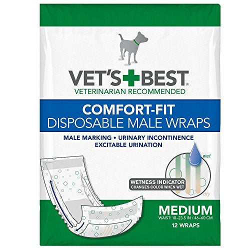 Vet's Best Comfort Fit Disposable Male Wrap, 12 count