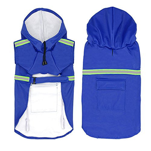 Dog Raincoat Leisure Waterproof Lightweight Dog Coat Jacket Reflective Rain Jacket with Hood for Small Medium Large Dogs(Blue,M)