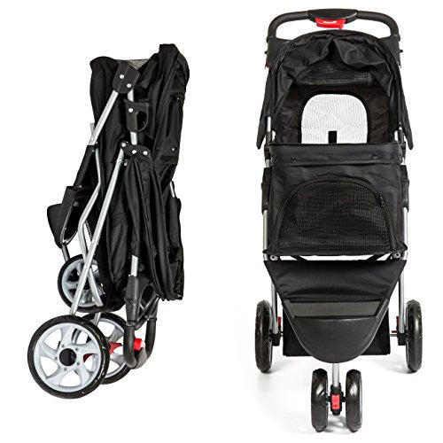 Best Choice Products 3-Wheel Folding Pet Stroller Travel Carrier Carriage For Cats And Dogs- Black