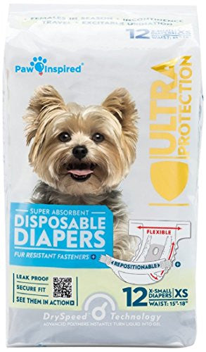 Paw Inspired Ultra Protection Female Disposable Dog Diapers