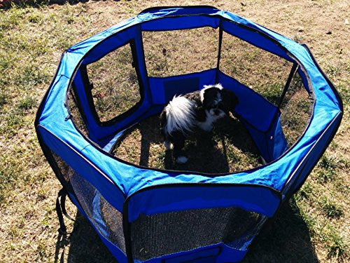 "ToysOpoly 45"" Indoor/Outdoor Pet Playpen Cage. Best Exercise Kennel for Your Dog, Cat, Rabbit, Puppy, Hamster or Guinea Pig. Portable for Easy Travel. (BLUE)"