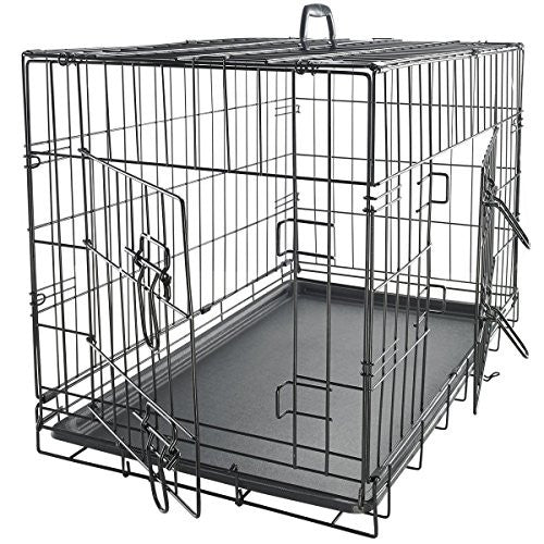 "OxGord 42"" XXL Dog Crate, Double-Doors Folding Metal w/ Divider & Tray   42"" x 27"" x 30""   2016 Newly Designed Model"
