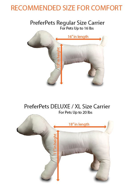 Prefer Pets Travel Gear - Size Chart
