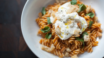 Sonora Wheat Fusilli with Heirloom Tomato Sauce, Burrata and Basil