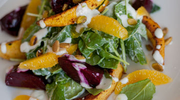 Bright & Flavorful Beet, Squash & Citrus Salad With Lime Yogurt and Roasted Pistachios