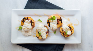 Grilled Peaches with Honey Whipped Ricotta and Blackberry Vinegar