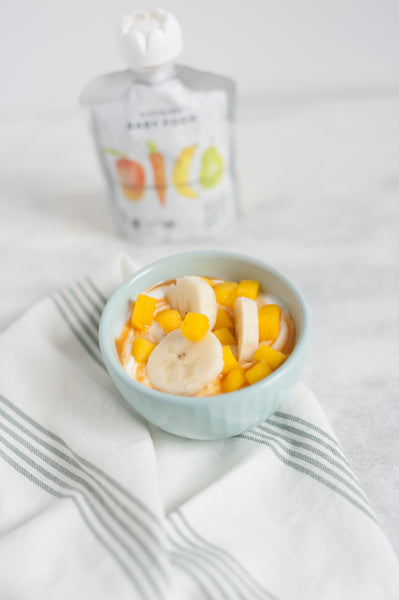 healthy baby snacks - fruit yogurt blend