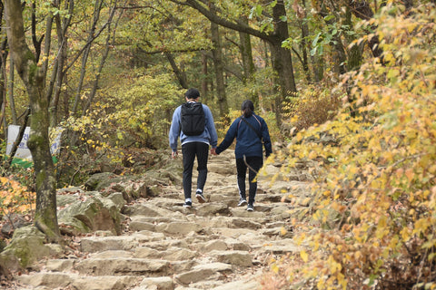 Young couple walking in farm