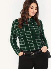 Plus Mock-Neck Grid T-shirt