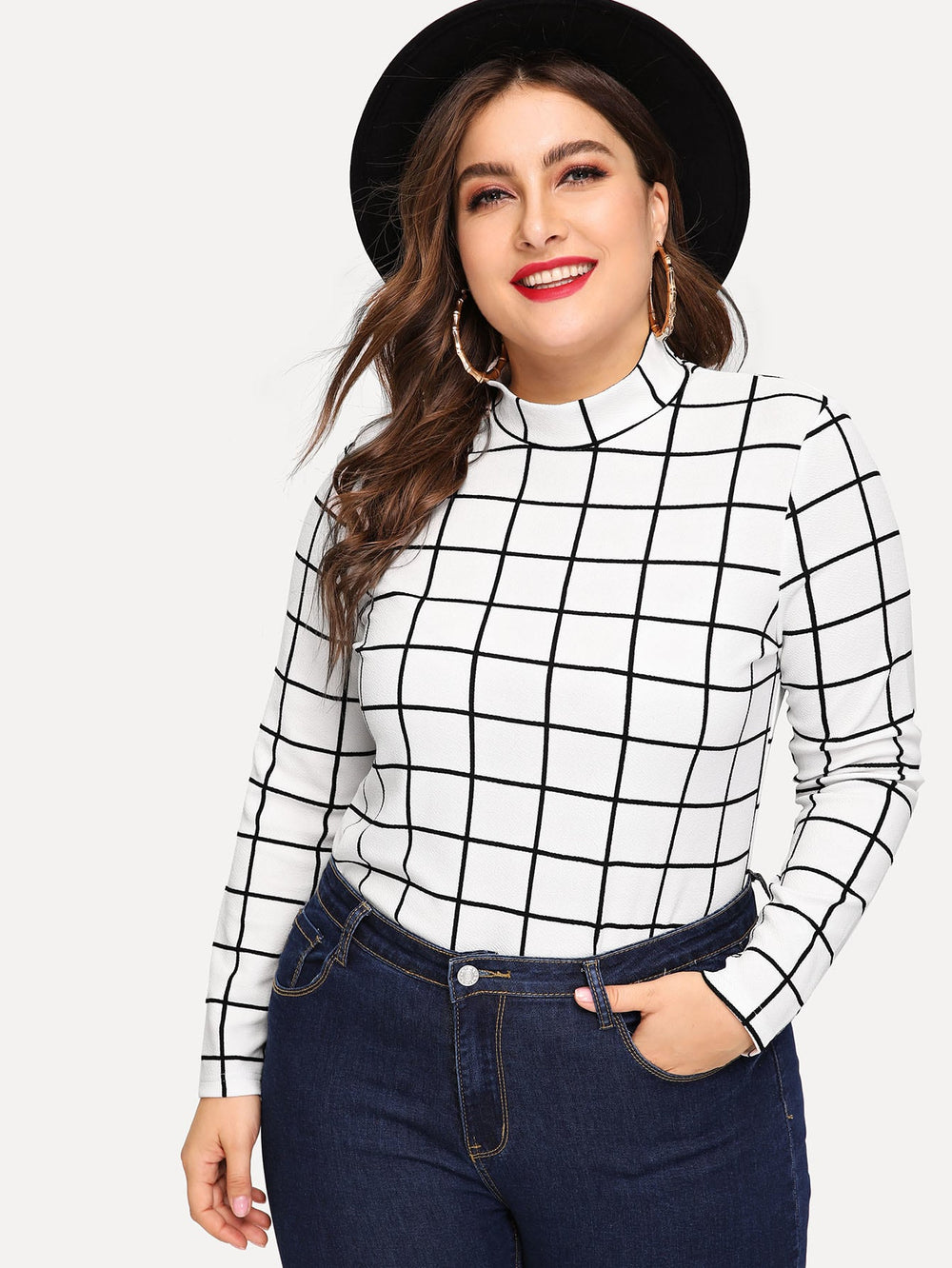 Plus Mock-neck Grid Top