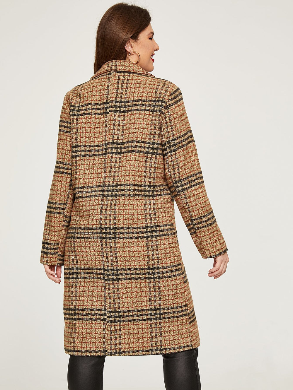 Plus Plaid Double-breasted Coat