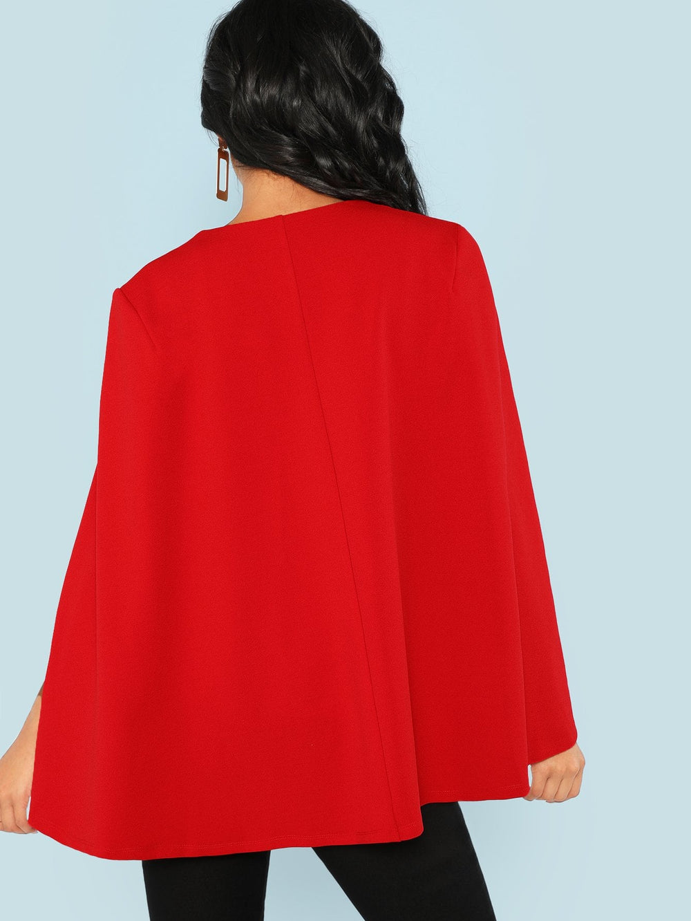 Surplice Neck Tie Waist Cape Coat