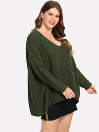 Plus V Neck Solid Oversized Sweater