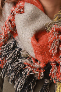 Woven Color-blocked Knotted Fringe Circle Scarf