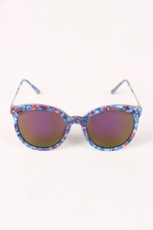 Printed Plastic Frame Mirrored Wayfarer Sunglasses