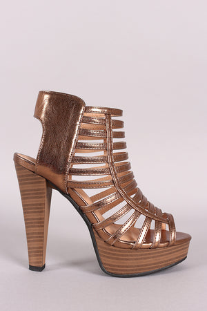 Metallic Strappy Caged Open Toe Platform Heel