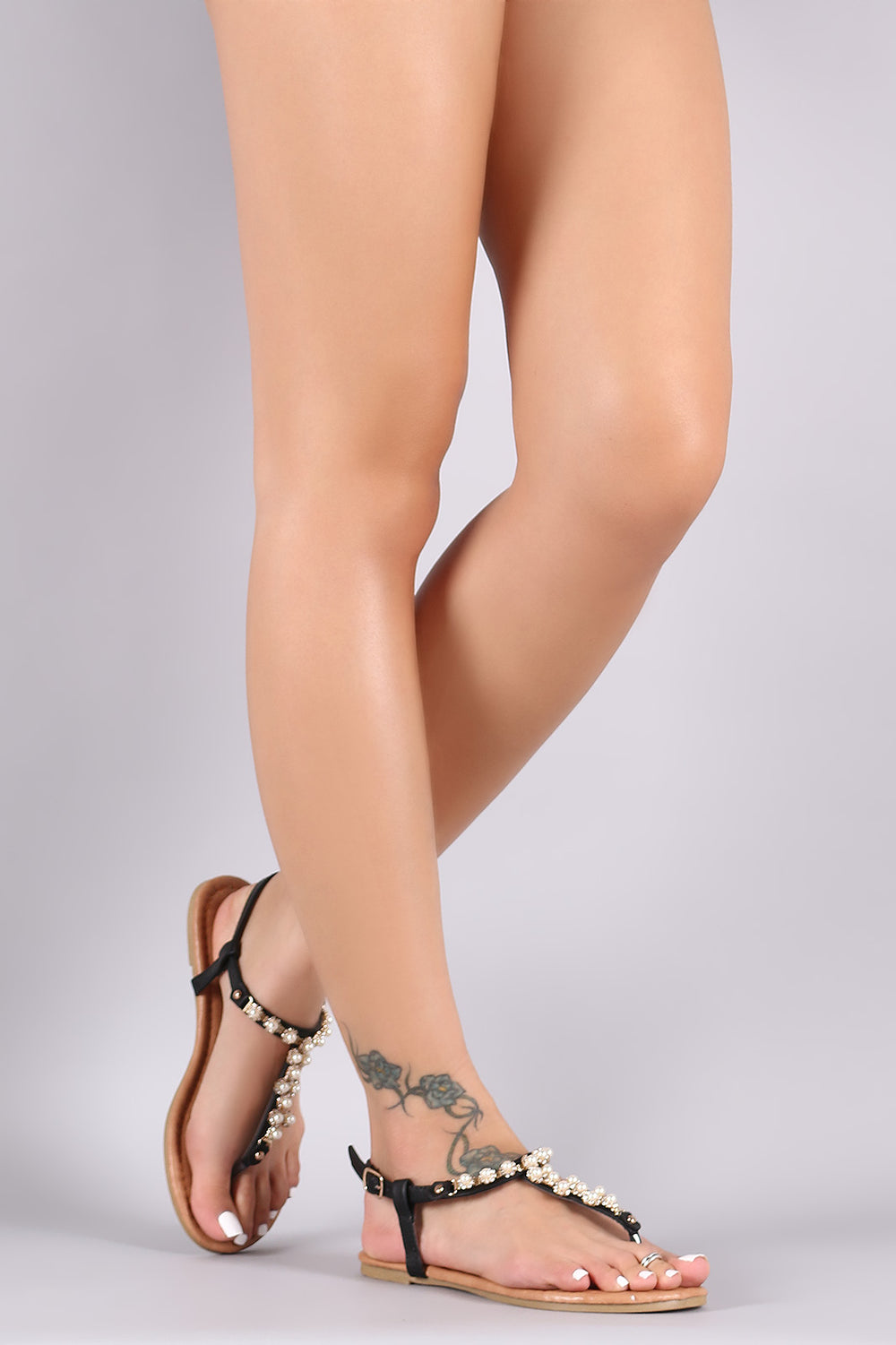 Rhinestones With Pearls T-Strap Slingback Flat Sandal