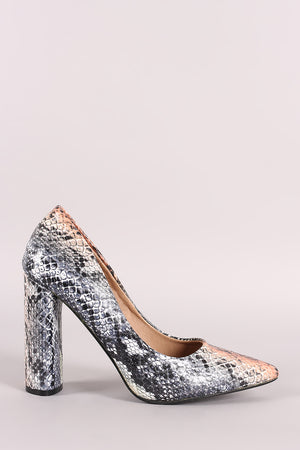 Snake Pointy Toe Chunky Heeled Pump