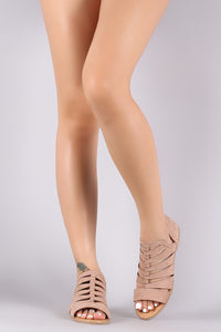 Qupid Suede Strappy Open Toe Flat