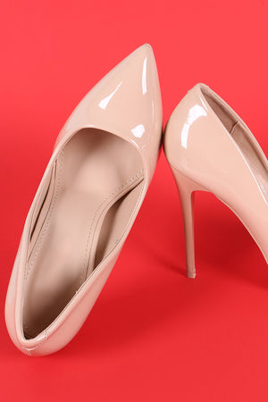Patent Pointy Toe Sitletto Pump