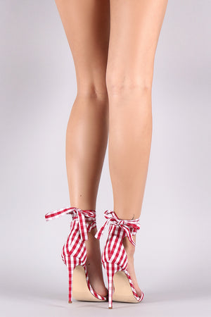 Liliana Gingham Ankle Lace-Up Open Toe Heel