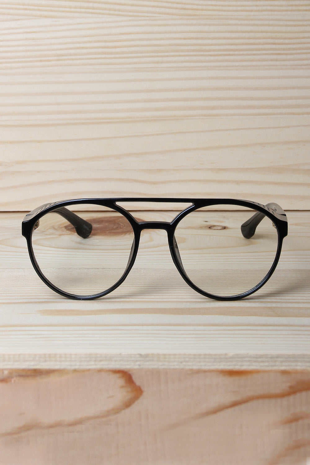 Clear Lens Bar Brow Brim Frame Glasses