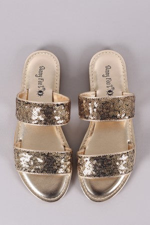 Sunny Feet Sequins Double Band Slide Flat Sandals