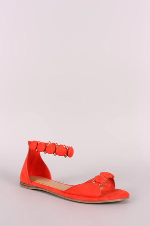 Bamboo Suede Button Ankle Strap Sandal