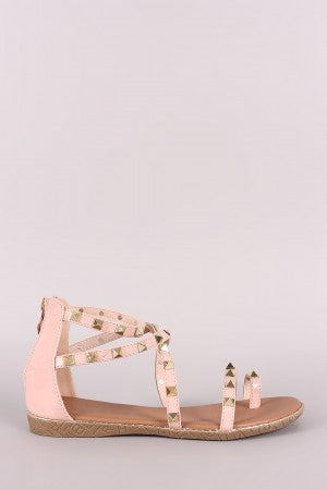 Pyramid Studded Patent Strappy Gladiator Flat Sandal