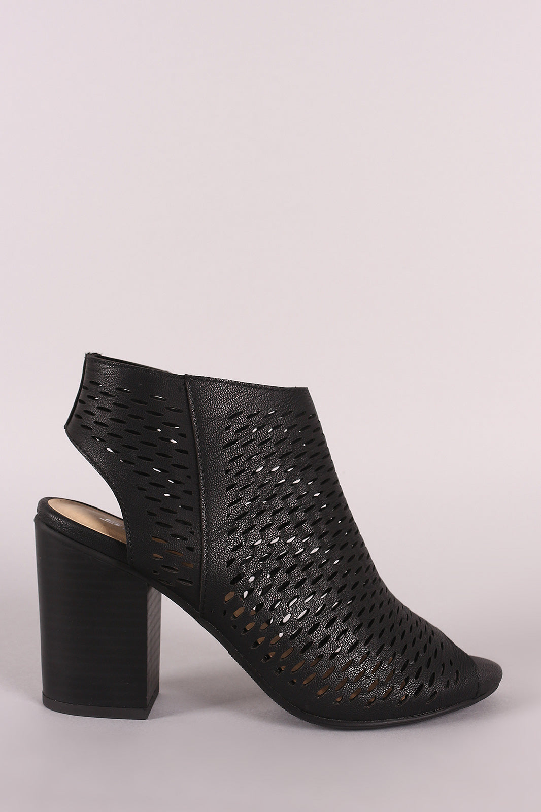 Soda Perforated Chunky Heeled Booties